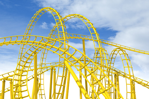 Rollercoaster「An awesome complex yellow rollercoaster against a blue sky」:スマホ壁紙(6)