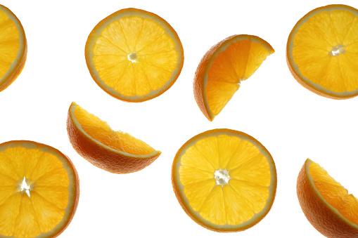 Orange - Fruit「Organic orange slices and segments on white background.」:スマホ壁紙(6)