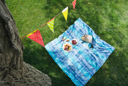 Picnic Blanket「Italy, Tuscany, Picnic blanket with food and flag line above it」:スマホ壁紙(3)