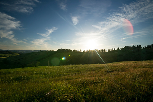 Back Lit「Italy, Tuscany, Crete Senesi, Landscape at sunset」:スマホ壁紙(8)