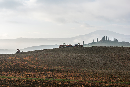 Earth「Italy, Tuscany, Castiglione Dorcia, Tractors on gray plowed land and distant cypress trees around villa disappearing in fog」:スマホ壁紙(15)