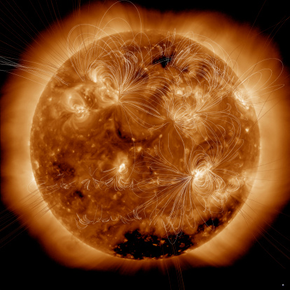 Ultraviolet Light「February 16, 2011 - Magnetic field lines on the Sun. Earth is visible in the bottom right corner to scale.」:スマホ壁紙(18)