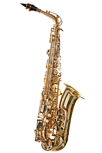 Blues Music「Alto saxophone, brightly lit, is isolated on white」:スマホ壁紙(17)
