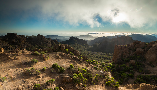 Atlantic Islands「Spain, Canary Islands, Gran Canaria, view from Roque Nublo」:スマホ壁紙(19)
