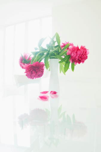 Pink Color「Vase of Peony flowers with falling petals」:スマホ壁紙(5)