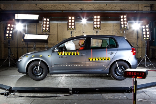 Crash Test「A car with a crash test dummy in a crash test laboratory」:スマホ壁紙(13)