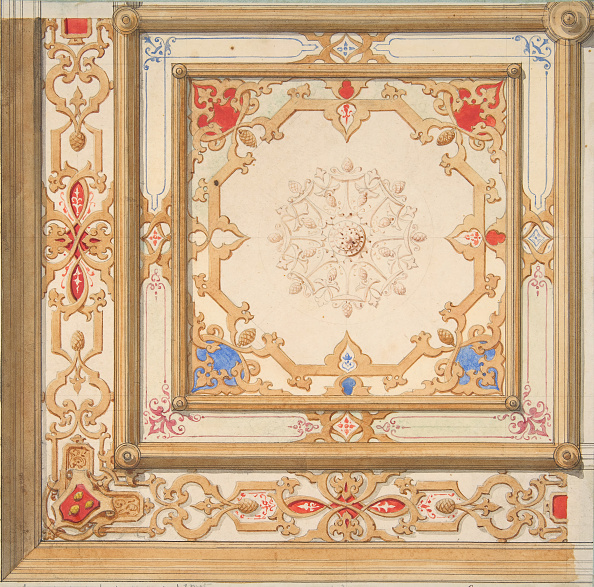Pine Cone「Partial Design For A Ceiling Painted In Strapwork And Pine Cone Motifs」:写真・画像(6)[壁紙.com]