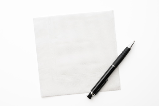 Ballpoint Pen「White paper napkin with pen on white background」:スマホ壁紙(17)