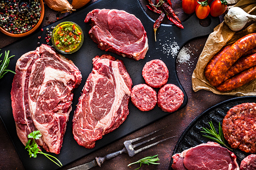 Recipe「Various cuts of raw meat shot from above」:スマホ壁紙(8)