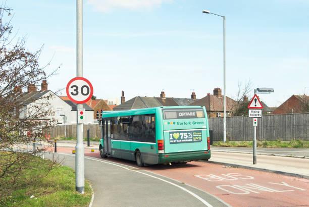Buses only road junction with rising bollards, Kings Lynn, Norfolk, UK:ニュース(壁紙.com)
