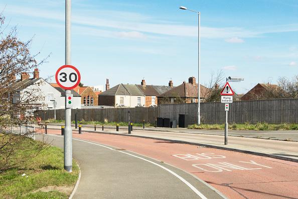 King's Lynn「Buses only road junction with rising bollards, Kings Lynn, Norfolk, UK」:写真・画像(7)[壁紙.com]