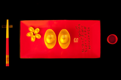 Better fortune「Creative Chinese traditional currency gold yuanbao ingots and chopsticks」:スマホ壁紙(13)