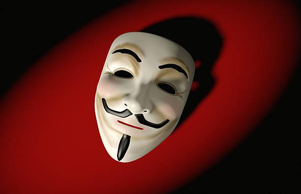 Mask of Guy Fawkes on red:スマホ壁紙(壁紙.com)