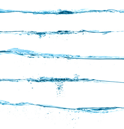 Wave - Water「Five different blue water surfaces isolated on white」:スマホ壁紙(12)