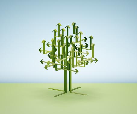 Growth「Green arrows forming a tree」:スマホ壁紙(4)