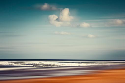 Nouvelle-Aquitaine「France, Contis-Plage, abstract beach landscape」:スマホ壁紙(13)