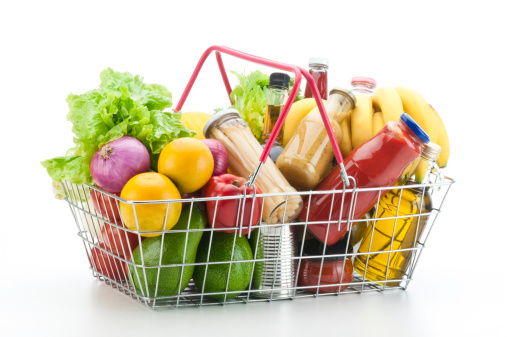 Basket「Wire shopping basket filled with groceries and vegetables」:スマホ壁紙(11)