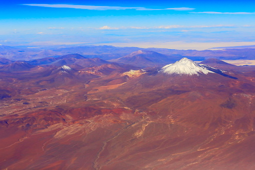 Andean Highlands「Atacama Desert – Chilean, Argentinean and Bolivian Andes aerial view – above dramatic snowcapped pastel colored landscapes, exotic volcanoes and Idyllic Atacama Desert, Volcanic landscape panorama –  Chile, Bolivia and Argentina border」:スマホ壁紙(13)