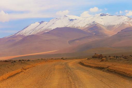 Bolivian Andes「Atacama Desert -  Dirt road to Bolivian snowcapped Andes - Potosi – Bolivia」:スマホ壁紙(2)