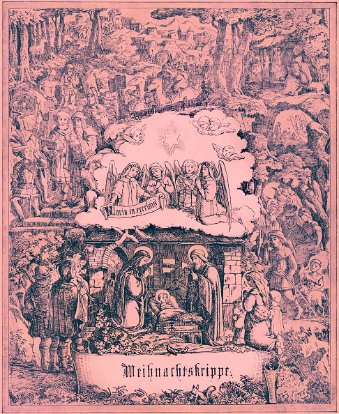 Woodcut「Christmas / Xmas  illustration with Biblical references:  Mary and Joseph with Jesus in manger」:写真・画像(17)[壁紙.com]