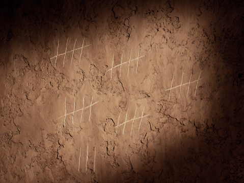 Waiting「Tally chart scratched onto wall, close-up」:スマホ壁紙(2)