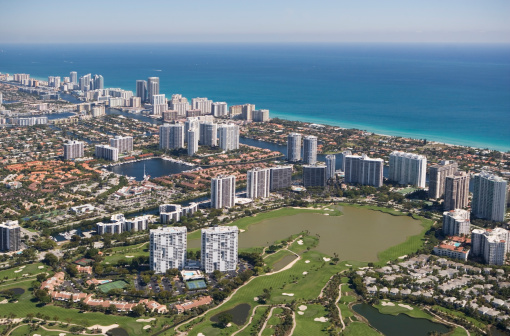 Miami Beach「USA, Florida, Miami cityscape as seen from air」:スマホ壁紙(11)