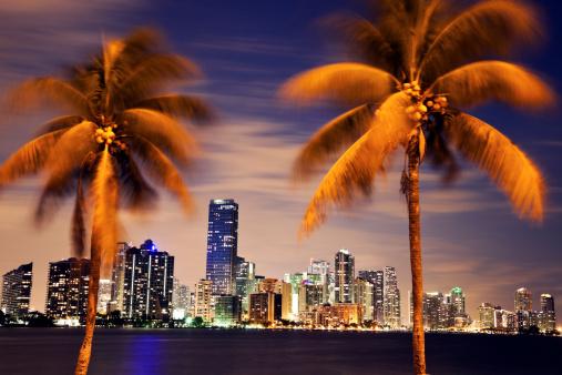 Miami「USA, Florida, Miami skyline at dusk」:スマホ壁紙(8)