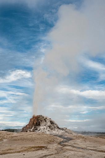 White Dome Geyser「White Dome Geyser erupting, Yellowstone National Park, Wyoming, USA」:スマホ壁紙(2)