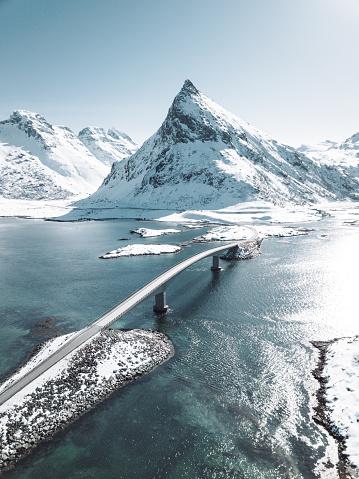 島「ロフォーテン諸島の橋の冬の眺め」:スマホ壁紙(11)