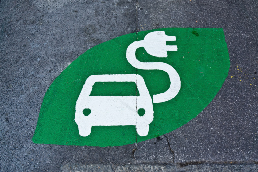 Power Supply「Electric car sign, charging station, green sign painted on street」:スマホ壁紙(10)