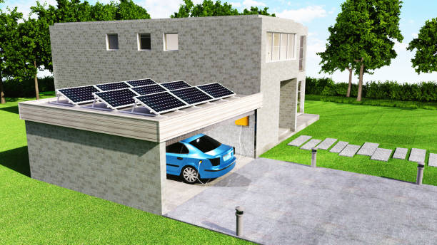 Electric car gets battery charged with solar power while parked in garage:スマホ壁紙(壁紙.com)