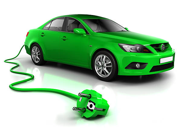 Electric car with cable - isolated on white/clipping path:スマホ壁紙(壁紙.com)