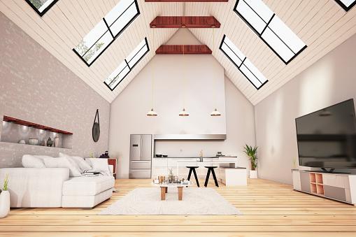 Ceiling「Attic Floor Design. Living room and Kitchen」:スマホ壁紙(0)