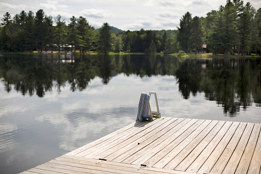 Adirondack Mountains「Dock Over Adirondacks Lake With Reflection Of Trees In It」:スマホ壁紙(13)