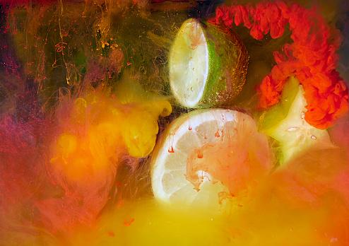 Orange - Fruit「citrus fruit and ink shot underwater」:スマホ壁紙(6)