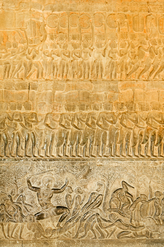 Hell「Bas-relief depicting scene from Judgement by Yama, heaven and hell panel in gallery surrounding Angkor Wat.」:スマホ壁紙(7)
