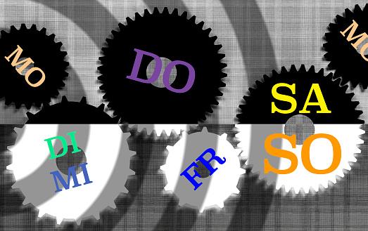 カレンダー「The days of the week in German language spread over a set of gears.」:スマホ壁紙(11)