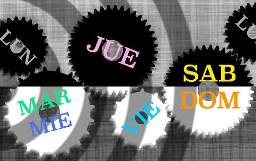 カレンダー「The days of the week in Spanish language spread over a set of gears.」:スマホ壁紙(10)