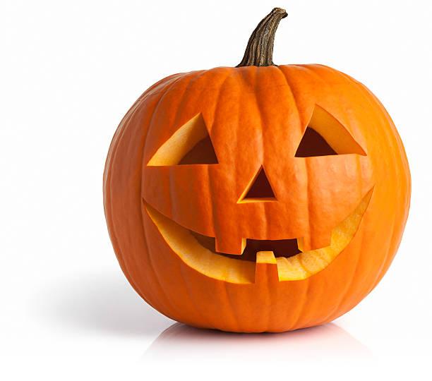 Freshly Carved Jack-o-Lantern Pumpkin Isolated on White:スマホ壁紙(壁紙.com)