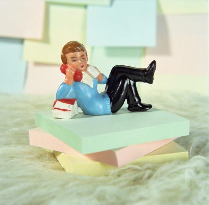 Teenager「Figure of teenage boy talking on phone on stack of notepads」:スマホ壁紙(17)