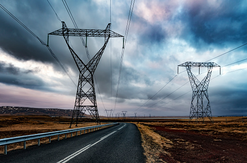 Electricity Pylon「Iceland, Solheimar, Highway 354 and power poles」:スマホ壁紙(18)