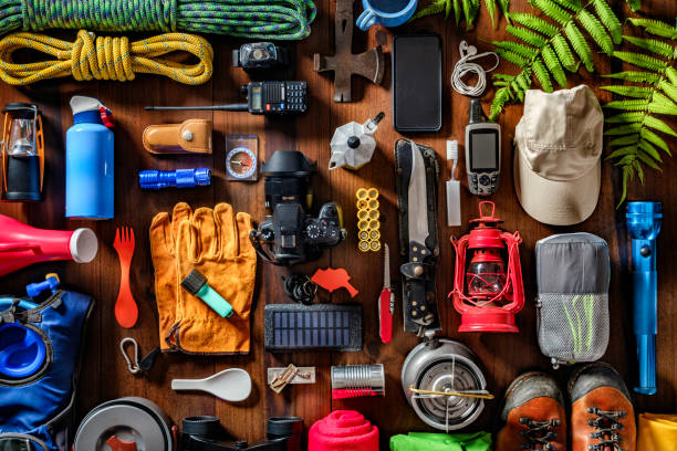 Top view camping and hiking travel and hiking gear, equipment and accessories for mountain trips:スマホ壁紙(壁紙.com)