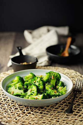 Vinaigrette Dressing「Healthy Vegan broccoli salad with pine nuts」:スマホ壁紙(0)