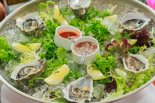 Vinaigrette Dressing「Dish of oysters with lemon and sauces」:スマホ壁紙(11)