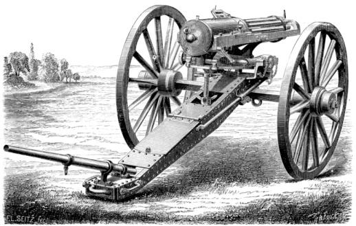 1870-1879「Gatling gun on wheels on battlefield」:スマホ壁紙(8)