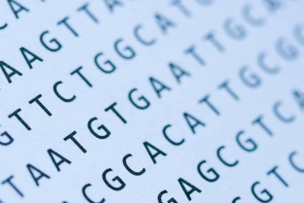 Macro of DNA nucleotide sequence printout on paper:スマホ壁紙(壁紙.com)