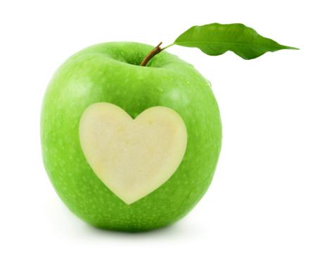 ハート「グリーンアップル」:スマホ壁紙(1)
