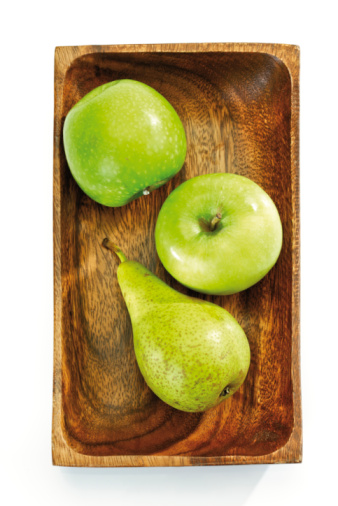 Pear「Green Apples and green pear in wooden bowl, elevated view」:スマホ壁紙(12)