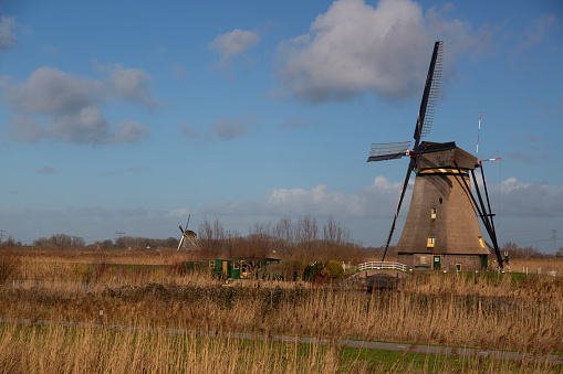 Netherlands「Windmill of Unesco World Heritage Site Kinderdij; in wetland area」:スマホ壁紙(10)