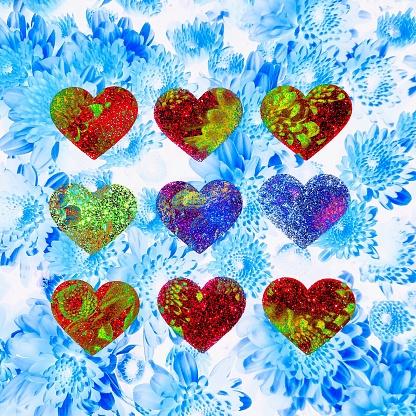 Multiple Exposure「Hearts and flowers pattern」:スマホ壁紙(10)